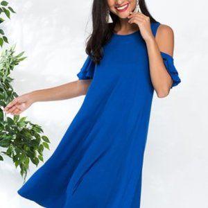 Milan Kiss Size XL Blue Ruffle Cold Shoulder Dress
